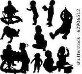 children and babies silhouettes ... | Shutterstock .eps vector #62906512