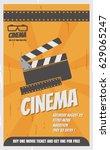 retro cinema poster  vector...   Shutterstock .eps vector #629065247
