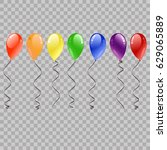 festive flying balloons for... | Shutterstock .eps vector #629065889