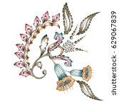 Stock photo decorative flower motif 629067839