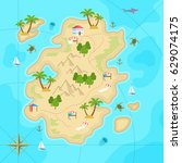 cartoon tropical island in... | Shutterstock .eps vector #629074175
