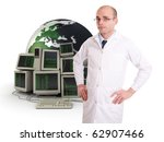 Technician in a white robe on a background of computers and the Earth - stock photo
