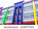 the new building with colorful... | Shutterstock . vector #629077025