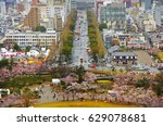 aerial view of himeji downtown... | Shutterstock . vector #629078681