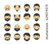 men head avatar iconset with... | Shutterstock .eps vector #629079575