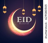eid mubarak  vector... | Shutterstock .eps vector #629080505