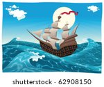 Galleon In The Sea. Cartoon An...