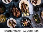 grilled variety meats and... | Shutterstock . vector #629081735