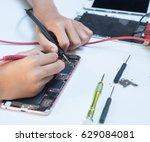 close up photos showing process ... | Shutterstock . vector #629084081