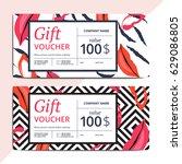trendy abstract gift voucher... | Shutterstock .eps vector #629086805