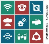 connect icons set. set of 9... | Shutterstock .eps vector #629088209