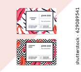trendy abstract business card... | Shutterstock .eps vector #629089541