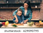 mother and daughter cooking on... | Shutterstock . vector #629090795