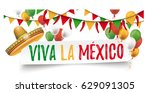 sombrero with balloons  bunting ... | Shutterstock .eps vector #629091305