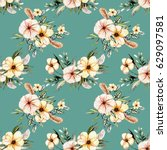 seamless floral pattern with... | Shutterstock . vector #629097581
