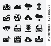 download icon. set of 16... | Shutterstock .eps vector #629100779