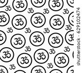 seamless texture with om symbol.... | Shutterstock .eps vector #629102474