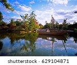 calm lake at todai ji  todaiji... | Shutterstock . vector #629104871