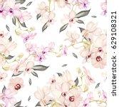 beautiful watercolor pattern... | Shutterstock . vector #629108321