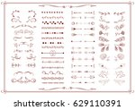 vintage vector set of artistic... | Shutterstock .eps vector #629110391