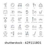 set line icons with open path... | Shutterstock . vector #629111801