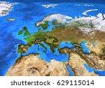 europe map. detailed satellite... | Shutterstock . vector #629115014
