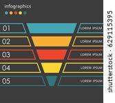 funnel template. 5 steps ... | Shutterstock . vector #629115395