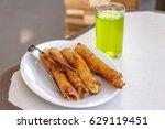 philippines banana snack turon   Shutterstock . vector #629119451