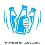shake bottle of yogurt before... | Shutterstock .eps vector #629122397