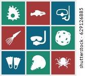 underwater icons set. set of 9... | Shutterstock .eps vector #629126885