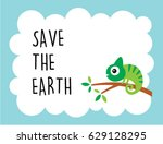 cute chameleon save the earth... | Shutterstock .eps vector #629128295