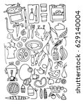 hand drawn stylized food set... | Shutterstock . vector #629140004