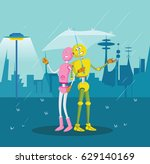 robot couple sheltering under... | Shutterstock . vector #629140169