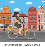 city style business lady with... | Shutterstock .eps vector #629141915