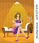 woman sitting on a couch with a ... | Shutterstock . vector #629157359