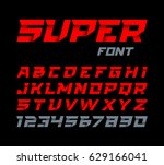 paper style super font. italic... | Shutterstock .eps vector #629166041