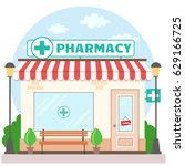 facade pharmacy store with a...   Shutterstock .eps vector #629166725