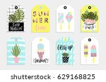 summer gift tags and labels... | Shutterstock .eps vector #629168825