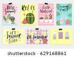 summer greeting cards and...   Shutterstock .eps vector #629168861