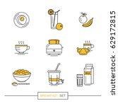 breakfast   set of vector... | Shutterstock .eps vector #629172815