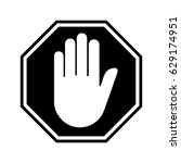 adblock or black stop sign icon ... | Shutterstock .eps vector #629174951