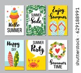 summer card set  vector... | Shutterstock .eps vector #629188991
