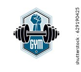 logotype for heavyweight gym or ... | Shutterstock .eps vector #629190425
