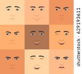 set of facial expressions.... | Shutterstock .eps vector #629193611