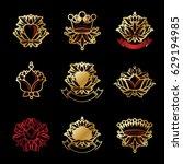 royal symbols  flowers  floral...   Shutterstock .eps vector #629194985