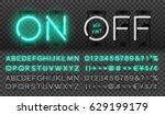 big turquoise neon set  glowing ... | Shutterstock .eps vector #629199179