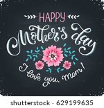 happy mothers day greeting card.... | Shutterstock .eps vector #629199635