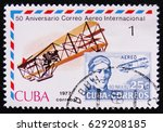 Small photo of MOSCOW, RUSSIA - APRIL 2, 2017: A post stamp printed in Cuba shows Biplane with portrait Agustin Parla, series International Airmail Service, 50th Anniversary, circa 1977