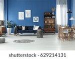 spacious retro style living... | Shutterstock . vector #629214131