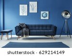 fancy grey lamp in blue... | Shutterstock . vector #629214149